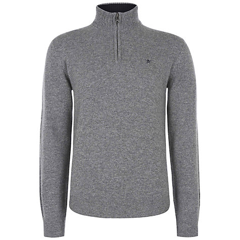 Buy Hackett London Lambswool Half Zip Jumper, Grey Online at johnlewis.com