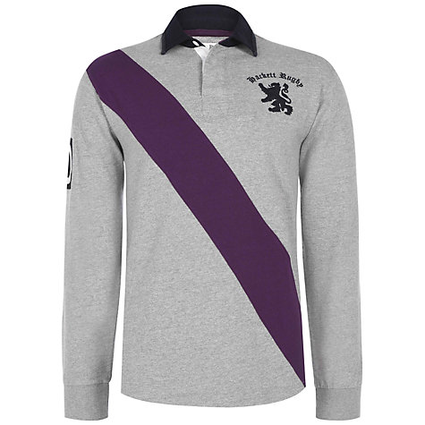 Buy Hackett London HRFC Sash Rugby Shirt, Grey Online at johnlewis.com