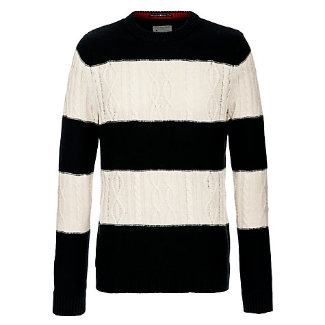 Buy Selected Homme Striped Jumper, Black/White Online at johnlewis.com