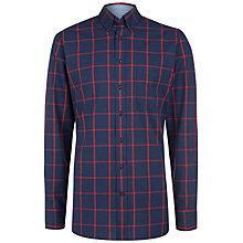Buy Hackett London Windowpane Check Shirt, Blue/Red Online at johnlewis.com
