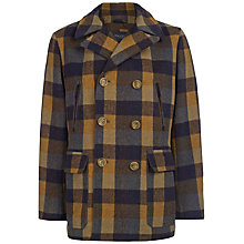 Buy Hackett London Check Wool Rich Peacoat, Brown/Multi Online at johnlewis.com