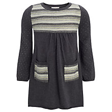 Buy John Lewis Girl Stripe Panel Knitted Dress, Grey Online at johnlewis.com