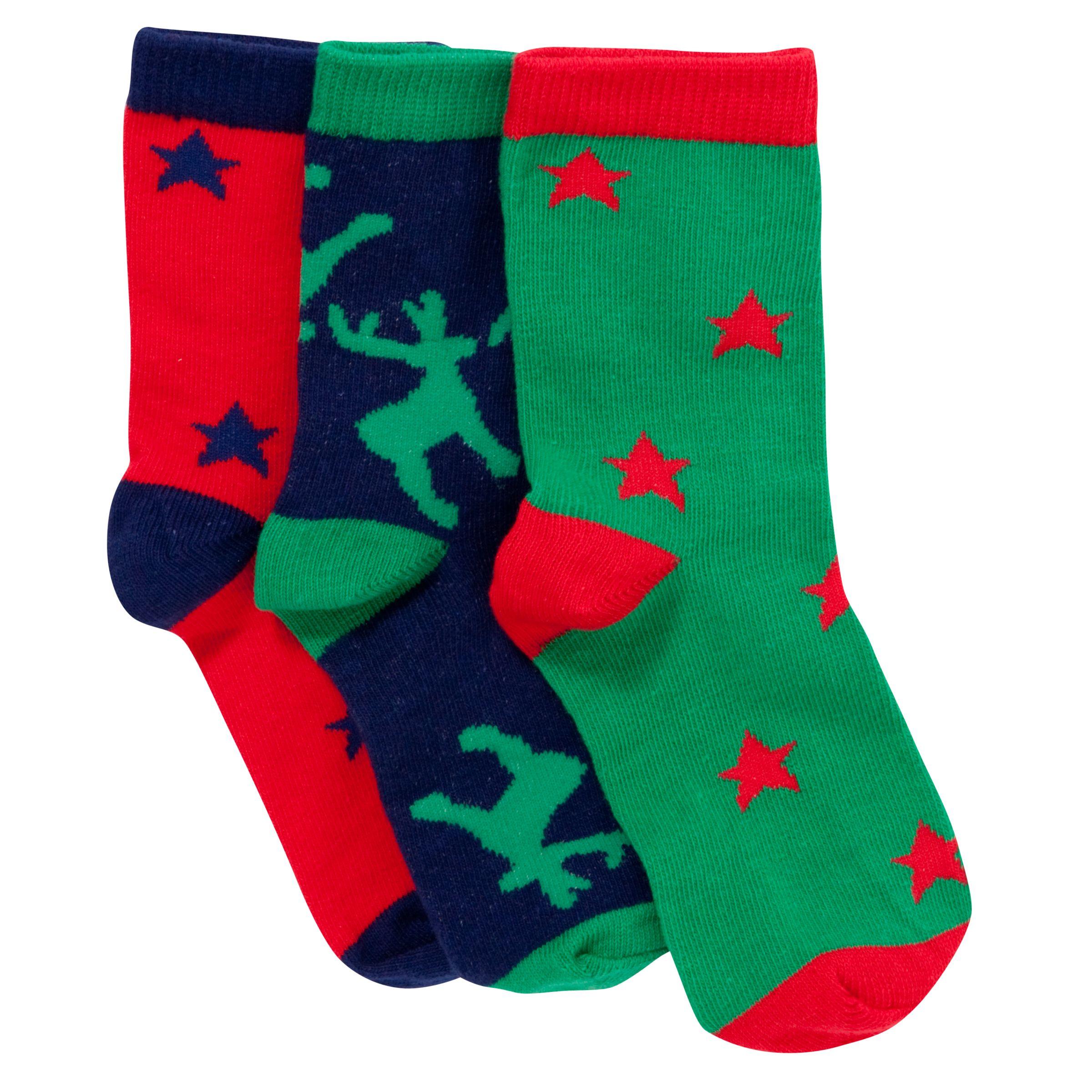 John Lewis Girl Boxed Animal Christmas Socks, Pack of 3, Multi