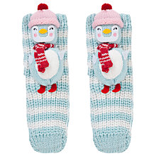 Buy John Lewis Girl Christmas Chunky Knitted 3D Snowman Socks, Aqua Online at johnlewis.com