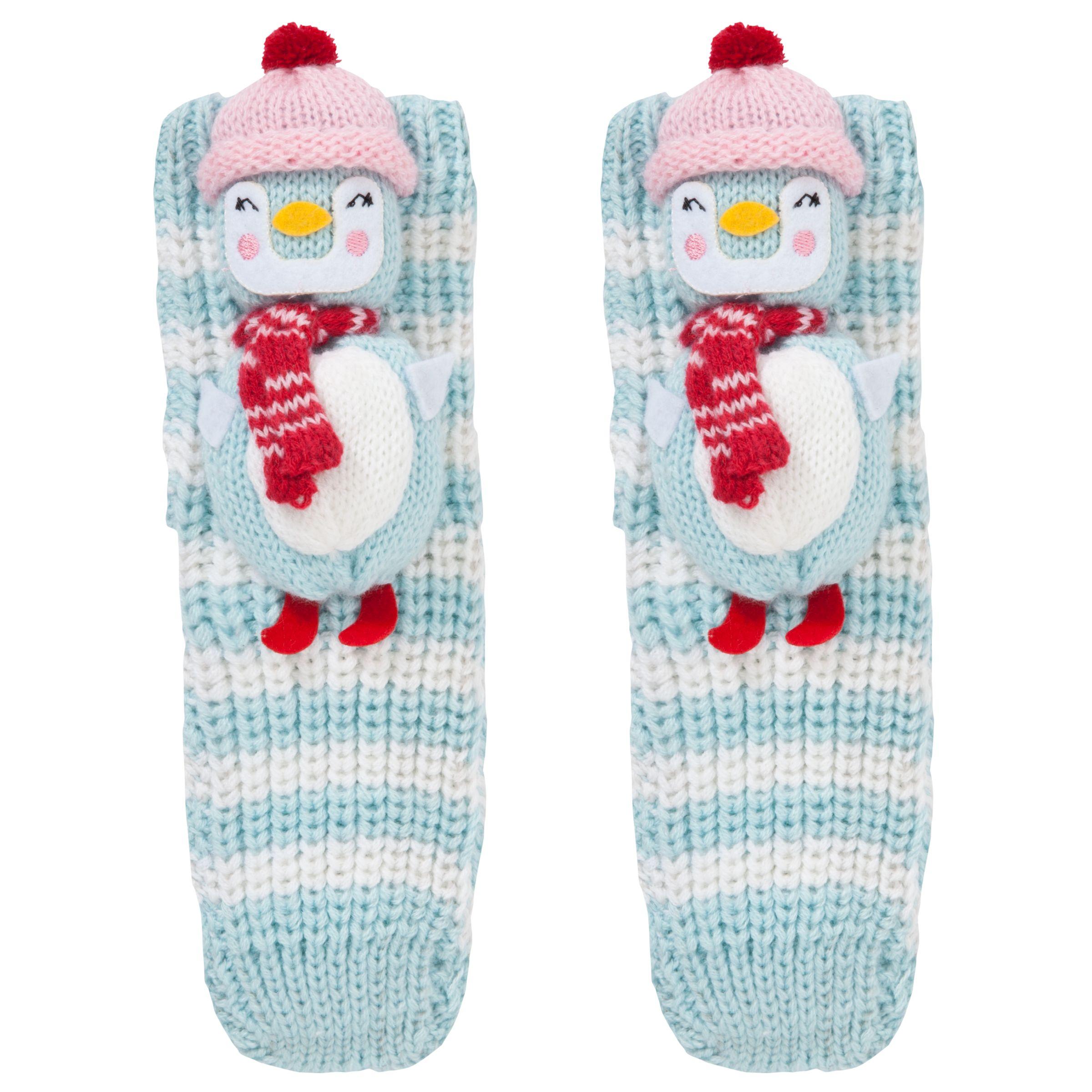 John Lewis Girl Christmas Chunky Knitted 3D Snowman Socks, Aqua