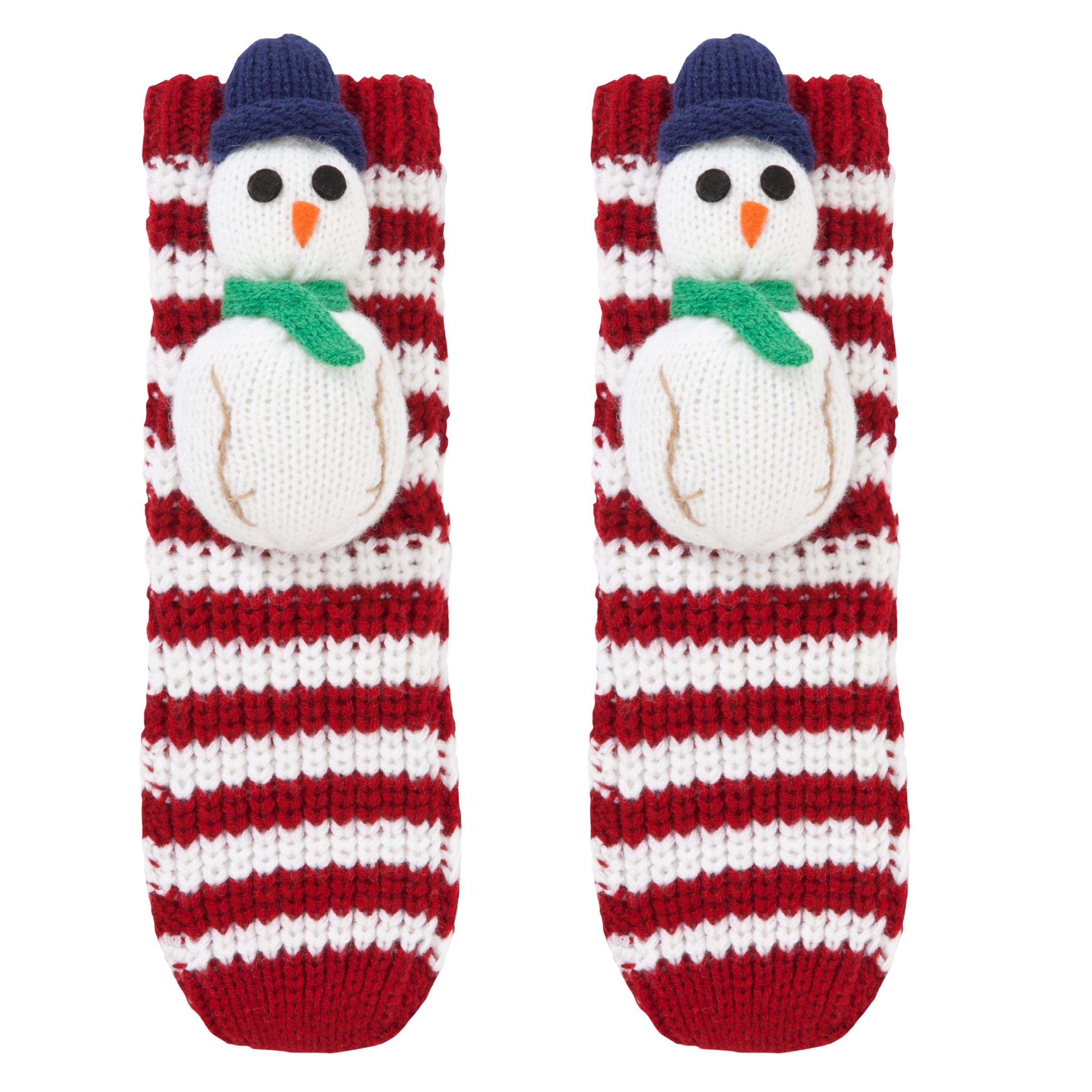 John Lewis Boy Christmas Chunky Knit 3D Snowman Socks, Red