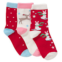 Buy John Lewis Girl Boxed Christmas Socks, Pack of 3, Multi Online at johnlewis.com
