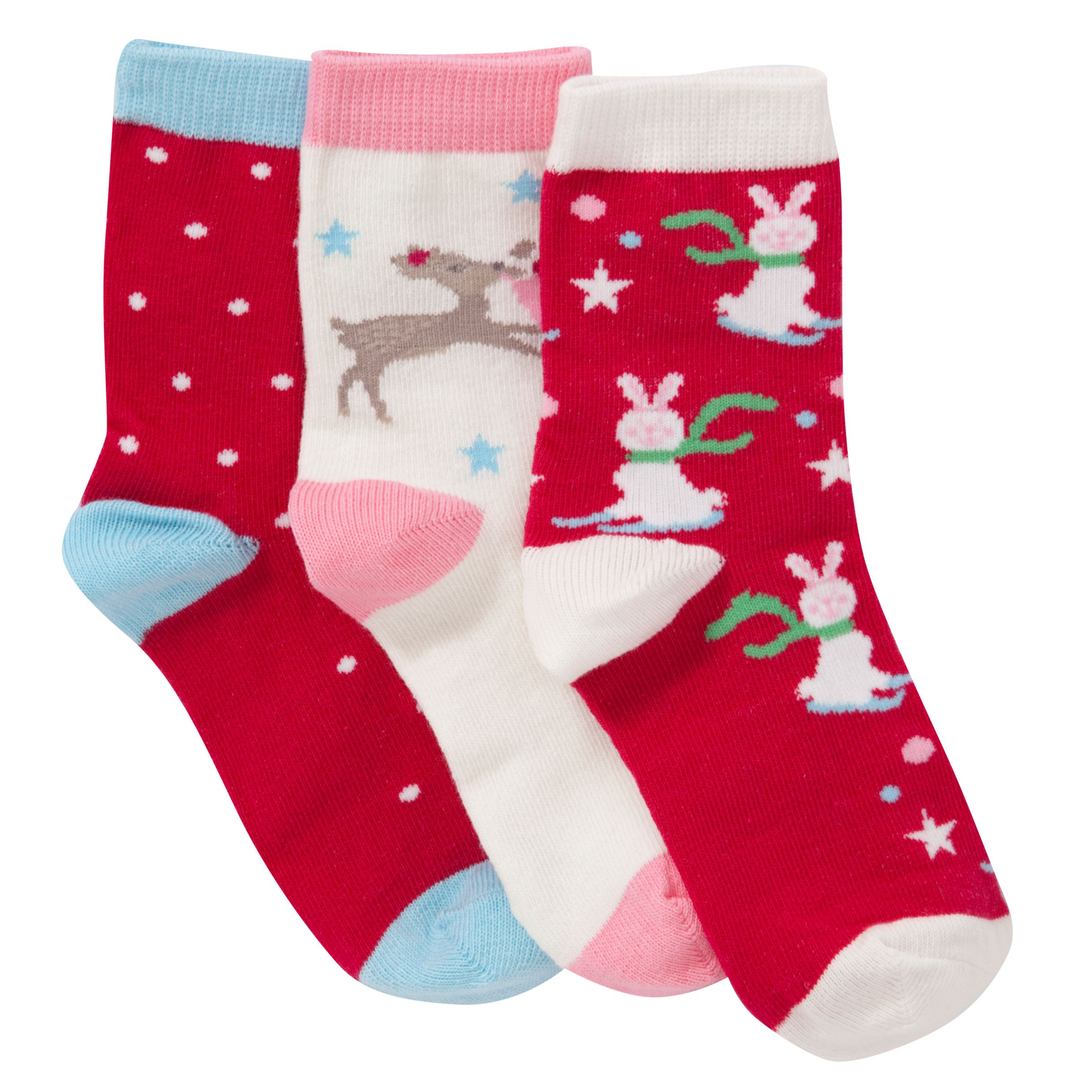 John Lewis Girl Boxed Christmas Socks, Pack of 3, Multi