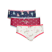 Buy John Lewis Girl Christmas Briefs, Pack of 3, Multi Online at johnlewis.com