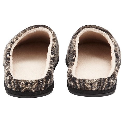 Buy John Lewis Fair Isle Knit Slippers, Black/Grey Online at johnlewis.com