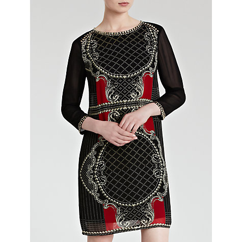Buy Derhy Sheer Sleeve Print Dress, Noir/Rouge Online at johnlewis.com