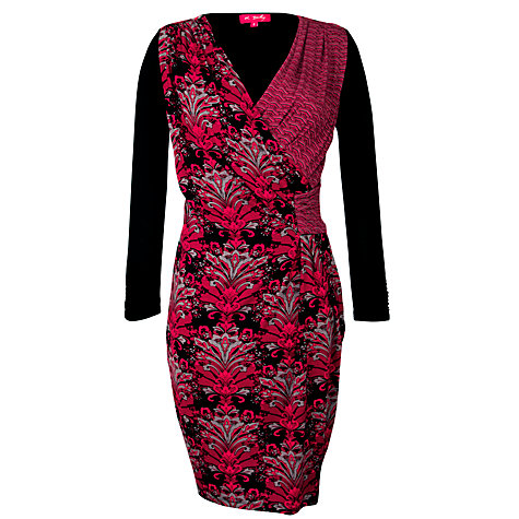 Buy Derhy Faux Wrap Print Front Dress, Rouge Online at johnlewis.com