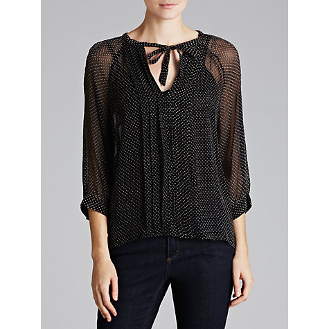 Buy Derhy Sheer Dotty Blouse, Noir Online at johnlewis.com