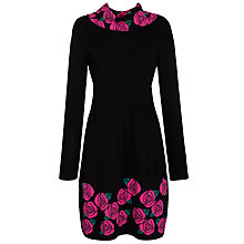 Buy Derhy Knit Rose Cowl Neck Dress, Noir Online at johnlewis.com