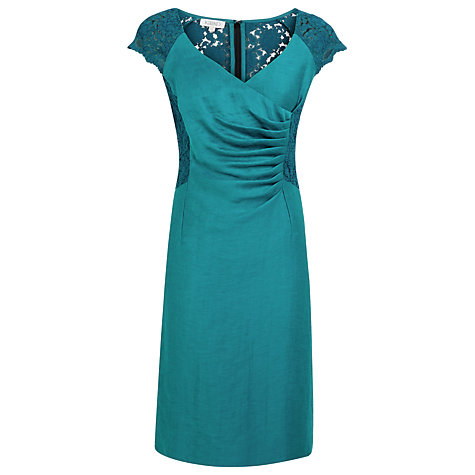 Buy Kaliko Lace Panel Linen Dress, Jade Green Online at johnlewis.com