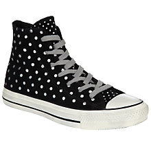 Buy Converse Chuck Taylor All Star Printed Suede Hi-Top Trainers, Black/White Online at johnlewis.com