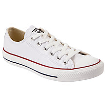Buy Converse Chuck Taylor All Star Low Top Leather Trainers, White Online at johnlewis.com