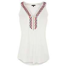 Buy Warehouse Tribal Embroidered Vest Top, White Online at johnlewis.com