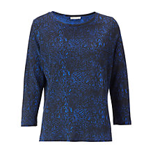 Buy Whistles Flora Jersey Snake Skin Print T-Shirt, Blue Online at johnlewis.com