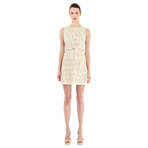 Buy Warehouse Contrast Lace Dress, Cream Online at johnlewis.com