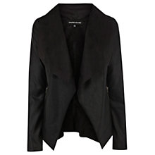 Buy Warehouse Draped Faux Leather Jacket, Black Online at johnlewis.com