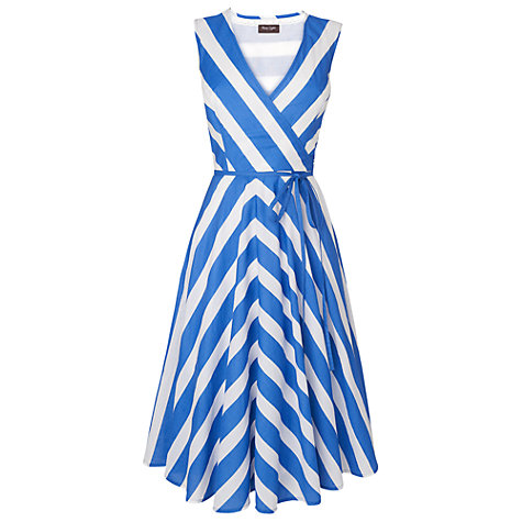 Buy Phase Eight Stripe Fit and Flare Dress, Lapis/White Online at johnlewis.com
