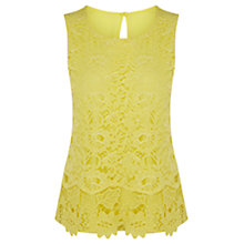 Buy Warehouse Guipure Lace Shell Top, Yellow Online at johnlewis.com