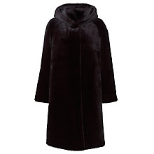Buy John Lewis Lillian Hooded Fur Coat, Black Online at johnlewis.com