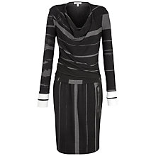 Buy Farhi by Nicole Farhi Abstract Stripe Jersey Cowl Neck Dress, Charcoal/Black Online at johnlewis.com