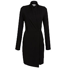 Buy Farhi by Nicole Farhi Plain Faux Wrap Dress, Black Online at johnlewis.com