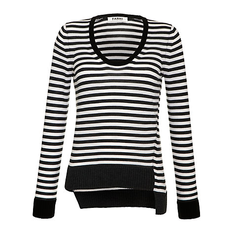 Buy Farhi by Nicole Farhi Merino Stripe Jumper, Ecru/Charcoal Online at johnlewis.com