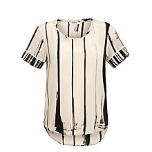 Buy Farhi by Nicole Farhi Silk Abstract Stripe Top, Nude/Black Online at johnlewis.com