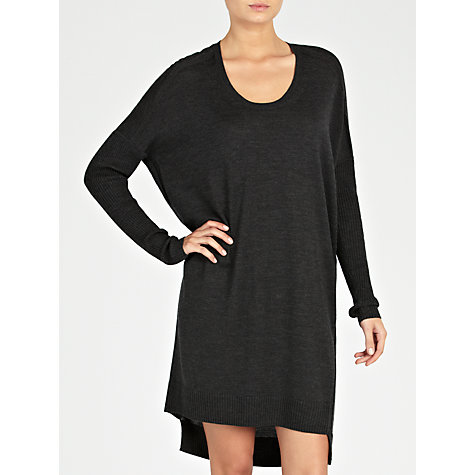 Buy Farhi by Nicole Farhi Scoop Neck Knitted Dress, Charcoal Online at johnlewis.com