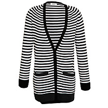 Buy Farhi by Nicole Farhi Long Striped Cardigan, Ecru/Charcoal Online at johnlewis.com