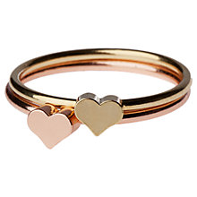 Buy Orelia Heart Ring 2 Pack, Mixed Gold Online at johnlewis.com