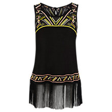 Buy Warehouse Embroidered Fringe Top, Black Online at johnlewis.com