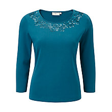 Buy CC Embellished Jersey Top, Petrol Online at johnlewis.com