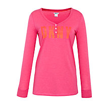 Buy DKNY Bright Long Sleeve Pyjama Top, Pink Online at johnlewis.com