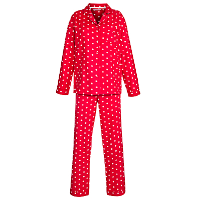 John Lewis Flannel Spot Pyjama and Night Sock Set, Red