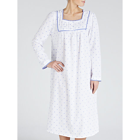 Buy John Lewis Long Sleeve Spot Nightdress, White / Purple Online at johnlewis.com