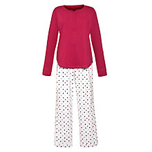 Buy John Lewis Flannel Star Pyjama Set, Pink Online at johnlewis.com
