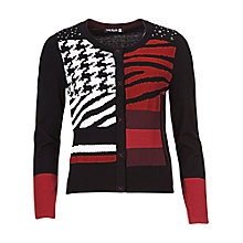 Buy Betty Barclay Long Sleeve Popper Cardigan, Black / Red Online at johnlewis.com