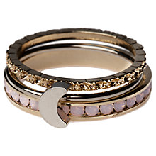 Buy Orelia Moon Stacker Ring Set, Rose Online at johnlewis.com