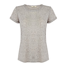 Buy Oasis Twist Neck T-Shirt, Mid Grey Online at johnlewis.com