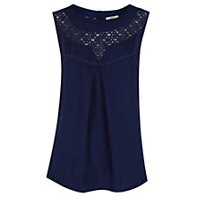 Buy Oasis Lace Insert Shell Top, Rich Blue Online at johnlewis.com
