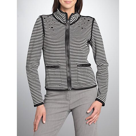 Buy Betty Barclay Stripe Zip Cardigan, Black / Cream Online at johnlewis.com