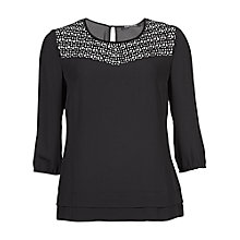 Buy Betty Barclay Laser Cut Blouse, Black Online at johnlewis.com