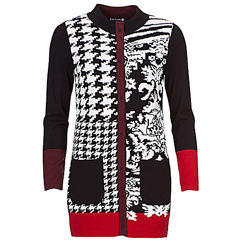 Buy Betty Barclay Round Neck Print Cardigan, Black / Red Online at johnlewis.com
