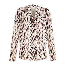Buy Farhi by Nicole Farhi Chevron Cowl Neck Top, Oxblood/Nude Online at johnlewis.com