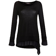 Buy Crea Concept Chiffon Trim Jumper, Black Online at johnlewis.com